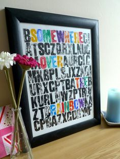 "Wizard Of Oz Nursery - letterpress personalized ""Somewhere Over the Rainbow"" print."