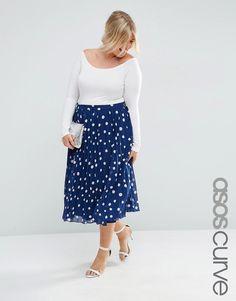 ASOS+CURVE+Pleated+Midi+Skirt+in+Polka+Dot