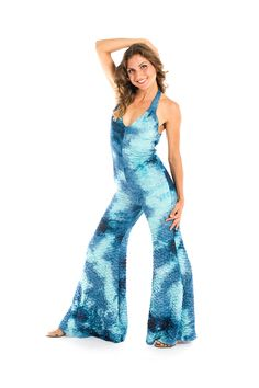 This Blue Galaxy Ruched Tigra Onesie by Warrior Within Designs is also called a sexy jumpsuit, cat suit, body suit or jumper with bell bottoms.