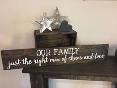 """Pallet Sign Large Our Family chaos and love Sign - 5.5""""x30"""" - Home Decor Rustic Shabby Chic Wood Art Hand Painted (Item Number PWS0130025) by ItIsAllInTheDetails on Etsy"""