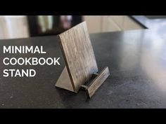 """Minimal Cookbook Stand: My sister reached out to me a few weeks ago about making a custom cookbook stand for her kitchen. She specifically requested that it """"look good"""" so that it can stand alone in her kitchen as decor when it's not being used. Naturally I was d… Cook Book Stand, Minimal Living, Woodworking Furniture, Fun Projects, Minimalism, Concrete, Hardwood, The Creator, Canning"""