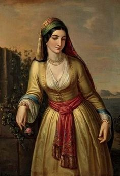 Portrait of a Young Greek Woman by Theodoros Vryzakis, 1860. A label on the back of the frame showed that it had once belonged to Prince Ludwig Ferdinand, the grandson of King Ludwig I. Greek Paintings, Classic Paintings, Art Paintings, Renaissance Paintings, Renaissance Art, Love Painting, Woman Painting, Empire Ottoman, Greek Beauty