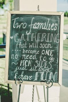 ceremony sign, chalkboard wedding sign,wedding seating sign, pick a seat not a side, sit anywhere wedding ceremony
