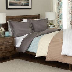 Andiamo Egyptian Cotton Woven Stripe 3-piece Duvet Cover Set - Overstock Shopping - Great Deals on Duvet Covers