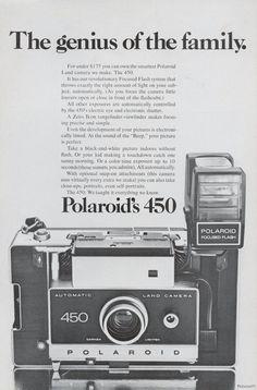 "Polaroid 450 Land Camera Ad Original 1972 Film Technology ""Family Genius"" Vintage Advertising Print, Wall Art Decor"