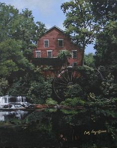 Note cards Falls Mill  a historical old grist by Brushedmemories, $5.00