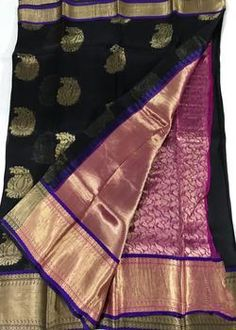 Black Pure Organza Silk Sarees