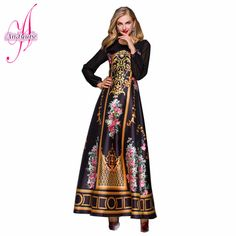 Russian Early Spring 2016 Vintage Frame Satin Printing Dress Sleeve Romantic Perspective Women Dress Mopping the Floor *** Learn more by visiting the image link.