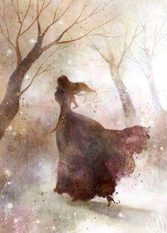 "Art by  Kim Yoon Hee ...  ...""The soul that sees beauty may sometimes walk alone.""  - Johann Wolfgang von Goethe"