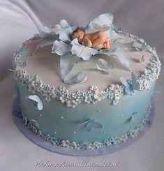 Trendy Baby Shower Cake For Boys Cupcakes Girls Ideas - Baby Showers - Kuchen Fondant Baby Torte, Cupcake Cakes, Fondant Bow, 3d Cakes, Fondant Tutorial, Fondant Flowers, Fondant Cakes, Baby Cake Topper, Pretty Cakes