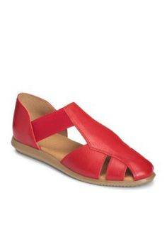 AEROSOLES Red Leather Believe Casual Flat