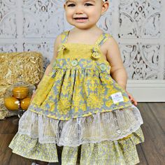 Girls Vintage Yellow and Grey Damask Apron Knot Dress- Frilly Lace Apron- Baby Girl