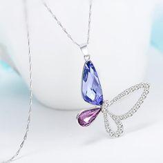 Purple Butterfly Sterling Silver Necklace