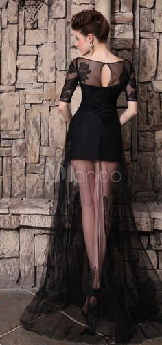Vestido de noche de tul negro con escote en U - Milanoo.com