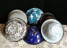 Vintage Enamelware Graniteware Wash Basin Bowl Pan Salesman Sample Lot of 6