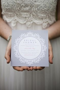 Lace look bridal shower invites. Peppermint Press.