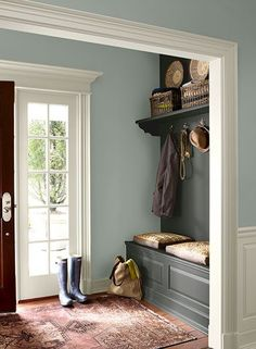 Wall color is Wedgewood Gray, built-in is Kendall Charcoal and trim is Floral White. All Benjamin Moore paint/colors. For the mudroom/back hall? Wall Colors, House Colors, Hall Paint Colors, Hallway Colours, Green Hallway Paint, Entryway Paint Colors, Basement Colors, Green Paint Colors, My New Room