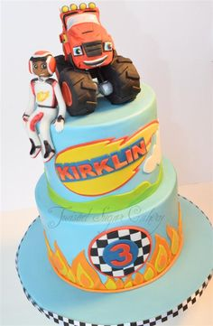 Blaze And The Monster Machines . and Blaze are made of fondant. Client sent me a pic of the original design that came from Babygotcakes. Blaze Birthday Cake, Birthday Fun, Birthday Parties, Race Car Cakes, Truck Cakes, Crazy Cakes, Blaze And The Monster Machines Cake, Cakes For Boys, Cake Kids