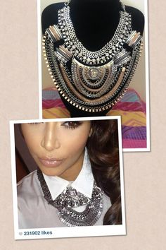 Follow in Kim Kardashians Style with this Huge Statement Necklace.