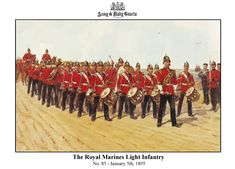 Royal Marine Light Infantry, Drums and Band by R. Army Uniform, Military Uniforms, Military Art, British Army Regiments, English Army, Marine Commandos, Red Coats, British Uniforms, Royal Marines