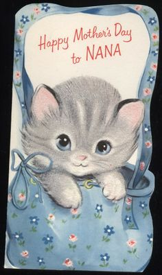 Vintage Kitten in Purse  gReeTinG CARD  oLd by vintagerecycling, $8.00