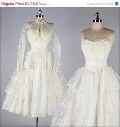 Vintage 1950s ivory tulle princess wedding dress