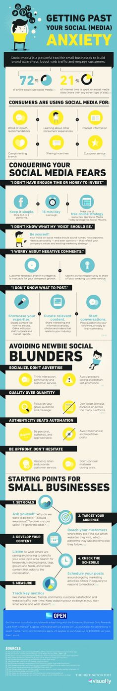 INFOGRAPHIC: The Most Common Social Media Fears And How To Get Over Them. (Perfect for Small Business Owners trying to get a start on social media) Propel Marketing Marketing Trends, Content Marketing, Internet Marketing, Online Marketing, Social Media Marketing, Inbound Marketing, Event Marketing, Marketing Tools, Social Networks