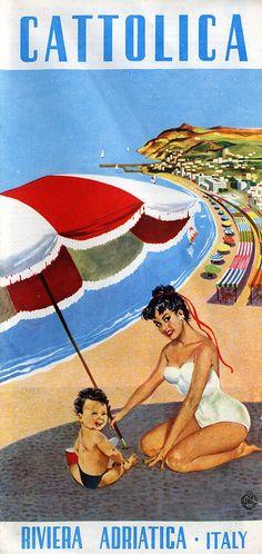 Vintage Italian Posters ~ #illustrator #Italian #posters ~ Cattolica, Italia.
