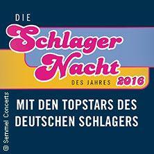Die Schlagernacht des Jahres 2016 // 04.06.2016 - 26.11.2016  // 04.06.2016 16:00 BERLIN/Waldbühne Berlin // 12.06.2016 16:00 BREGENZ/Seebühne Bregenz // 15.10.2016 18:00 STUTTGART/Hanns-Martin-Schleyer-Halle // 05.11.2016 18:00 OBERHAUSEN/König-Pilsener-ARENA // 19.11.2016 18:00 BERLIN/Mercedes-Benz Arena // 20.11.2016 16:00 WIEN/Wiener Stadthalle Halle D // 26.11.2016 18:00 FRANKFURT/Festhalle Frankfurt