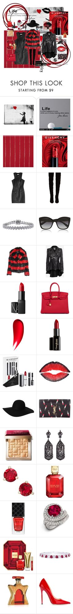 """""""Dark Kiss"""" by miss-amazing-grace ❤ liked on Polyvore featuring iCanvas, Givenchy, Pierre Balmain, Christian Louboutin, Ice, Dolce&Gabbana, McQ by Alexander McQueen, Alexander McQueen, NARS Cosmetics and Hermès"""