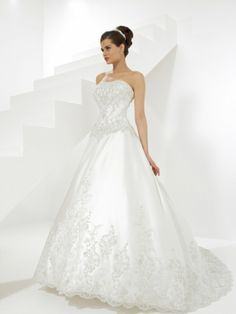 Ball Gown Strapless Embroidery Beading Satin Chapel Train Wedding Dress at Millybridal.com