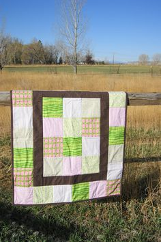 Watermelon Crib Baby Girl Quilt Pink Green Brown Cream Polka Dots Striped