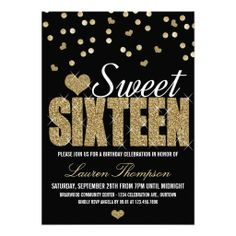 Golden Sparkle Sweet 16 Party Invitations