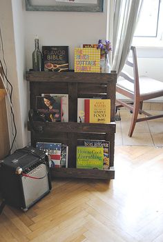 Pallet bookcase or a magazine rack?