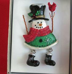 Retro Jewelry Christmas White Snowman Christmas Enamel Brooch Pin Gift 6A