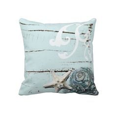 Romantic Elegant blue Seashell Beach decor Pillow