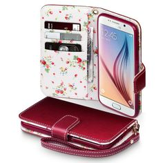 Samsung Galaxy S6 Case, Terrapin [Red] [Floral Interior] Premium PU Leather Wallet Case with Card Slots Cash Compartment and Detachable Wrist Strap for Samsung Galaxy S6 - Red: Amazon.co.uk: Electronics