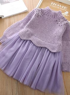 Stylish Dresses For Girls, Girls Dresses Online, Dresses Kids Girl, Kids Outfits, Baby Sweater Patterns, Kids Dress Patterns, Knit Baby Dress, Knitted Baby Clothes, Make Your Own Dress