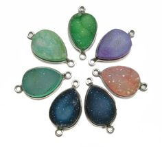925 Sterling Silver Bezel Mix Colour Druzy by finegemstone on Etsy, $59.50