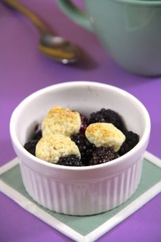 Blackberry cobbler for one. Breakfast or dessert, you decide!