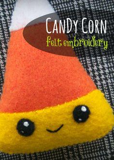 Stitch up a corny little friend! Free Candy Corn felt pattern!