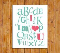 ABC I Love You Printable Art Print Nursery Alphabet by dodidoodles, $5.00