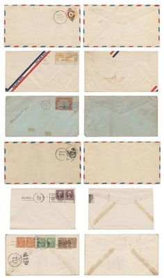 Old mail envelopes templates - Loving the site these are on - ohcrafts.net