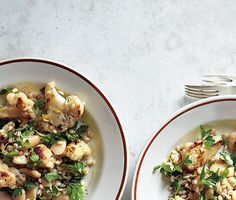 Warm Cauliflower and Herbed Barley Salad Recipe at Epicurious.com