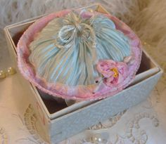 Circa 1920s Never Used Charming Blue Silk Powder Purse Adorned With A Pink Ribbonwork Rosette and Ombre Ribbon Original Box