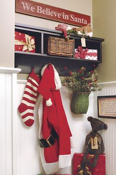 12 Ideas to Jump-Start Holiday Decorating - Hanging Out: Hang Santa's suit and . 12 Ideas to Jump-Start Holiday Decorating – Hanging Out: Hang Santa's suit and stocking on a c Merry Little Christmas, Christmas Love, Country Christmas, Winter Christmas, All Things Christmas, Vintage Christmas, Christmas Ideas, Xmas, Christmas Crafts