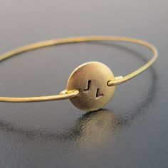 Customized Bracelet for Her Gold Monogram by FrostedWillow on Etsy