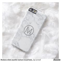 Modern white marble texture trend fashion monogram barely there iPhone 6 case
