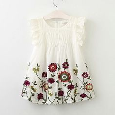 Cheap kids clothing, Buy Quality kids fashion clothing directly from China clothing for children Suppliers: Hurave 2017 Fashion girls dress kids clothing for children fly sleeve summer kid embroidery dress flower robe fille Baby Girl Frocks, Baby Girl Party Dresses, Frocks For Girls, Baby Dress, Girls Dresses, Little Girl Outfits, Toddler Outfits, Kids Outfits, Cheap Kids Clothes
