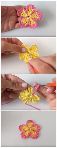 Crochet Flowers Easy When you need a quick and simple embellishment for a hat or bag, this easy crochet flower pattern is perfect. The cutest craft projects come in miniature, and this small flower is so much fun to crochet. Beau Crochet, Crochet Puff Flower, Crochet Flower Tutorial, Crochet Flower Patterns, Crochet Flowers, Knitting Patterns, Easy Knitting, Crochet Leaves, Knitting Ideas